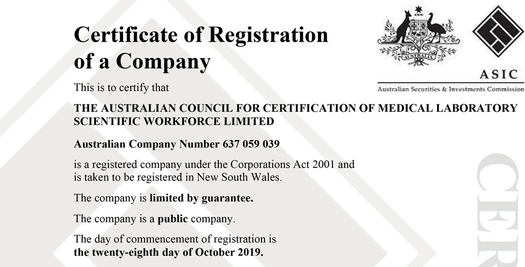 The Australian Council for Certification of Medical Laboratory Scientific Workforce Limited